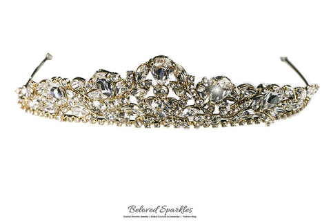 Bethany Glam Cluster Gold Tiara | Swarovski Crystal - Beloved Sparkles  - 6
