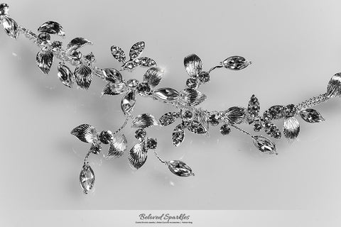 Trista Silver Leaf Hair Tie Headband | Swarovski Crystal - Beloved Sparkles  - 7
