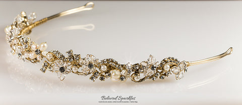 Eva Floral Pearl Gold Headband | Swarovski Crystal - Beloved Sparkles  - 7