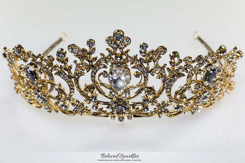 Lucia Victoria Statement Gold Tiara | Swarovski Crystal - Beloved Sparkles  - 7