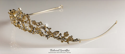 Nedda Art Deco Filigree Tiara | Gold | Swarovski Crystal - Beloved Sparkles  - 7