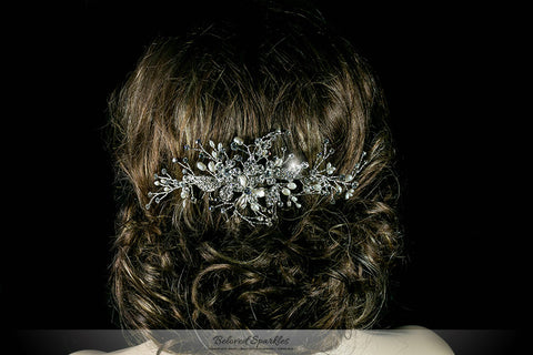 Vicky Floral Spray White Pearl Hair Comb | Pearl | Swarovski Crystal - Beloved Sparkles  - 7