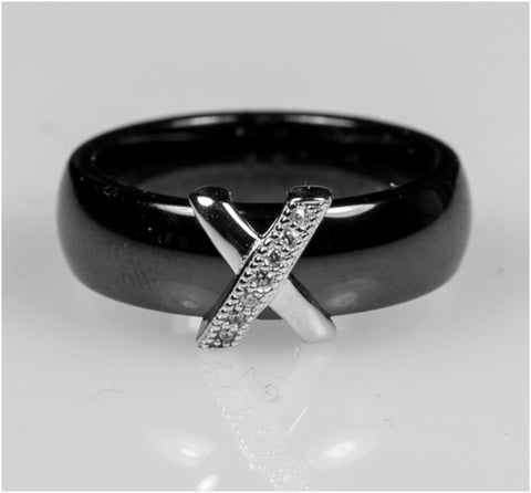 Gloris Black Ceramic X Band Ring | .3 Carat | Cubic Zirconia  | Sterling Silver - Beloved Sparkles
