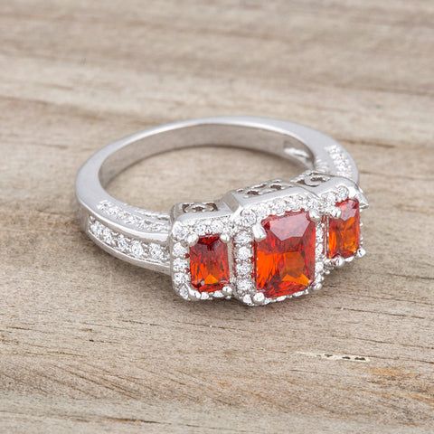 Rita Three Stone Garnet Red Radiant Cut Cocktail Ring | 5 Carat | Cubic Zirconia - Beloved Sparkles  - 5