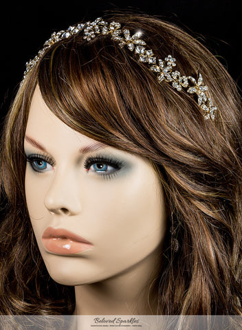 Loretta Flower Forehead Gold Headband| Swarovski Crystal - Beloved Sparkles  - 8