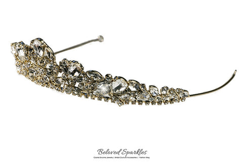 Bethany Glam Cluster Gold Tiara | Swarovski Crystal - Beloved Sparkles  - 7