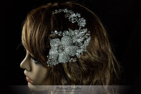 Adele Vintage Flower Statement Hair Comb | Swarovski Crystal - Beloved Sparkles  - 7