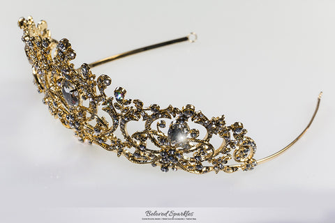 Lucia Victoria Statement Gold Tiara | Swarovski Crystal - Beloved Sparkles  - 8