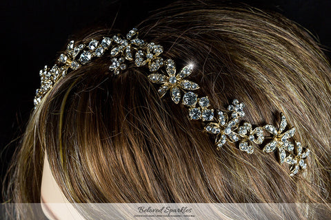 Loretta Flower Forehead Gold Headband| Swarovski Crystal - Beloved Sparkles  - 7