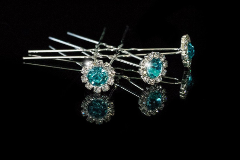 Lydia Aqua Blue Halo Hair Stick Pin | Rhinestone