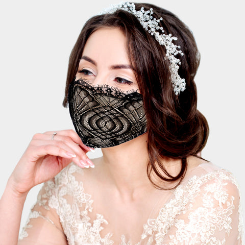 Layla Black Laced Face Mask