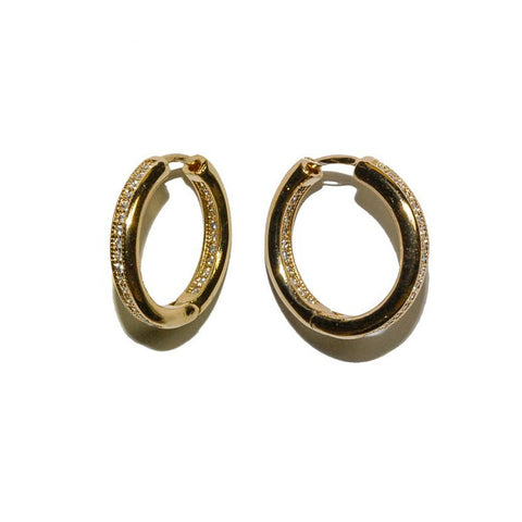 Panola CZ Inside-Out Gold Huggie Hoop Earrings