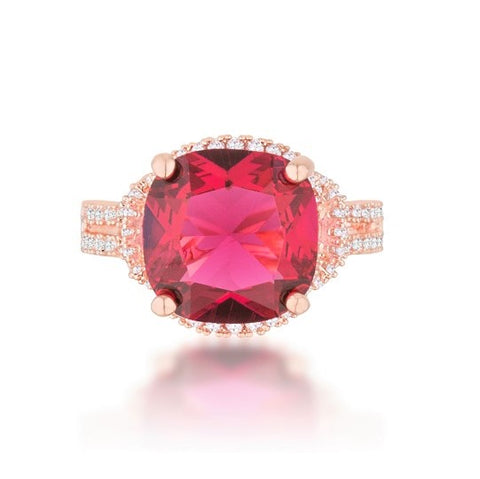 Charlene Ruby Cushion CZ Rose Gold Statement Ring | 7ct