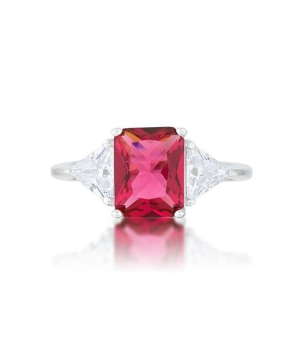 Gretchen 3ct Fuchsia Radiant CZ Cocktail Ring | 4.5ct