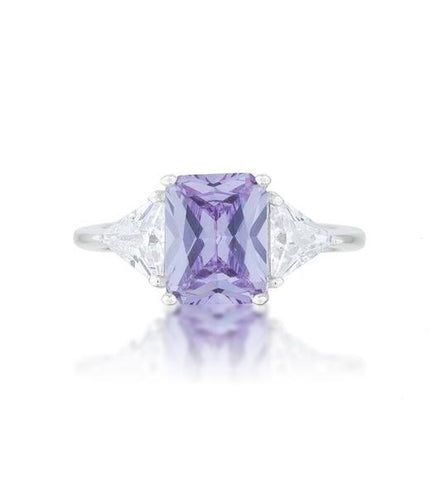 Gretchen Lt Amethyst Radiant CZ Cocktail Ring  | 4.5ct