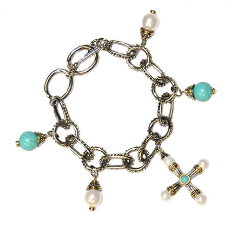 Shayla Pearl and Bead Charm Bracelet – 7.25in