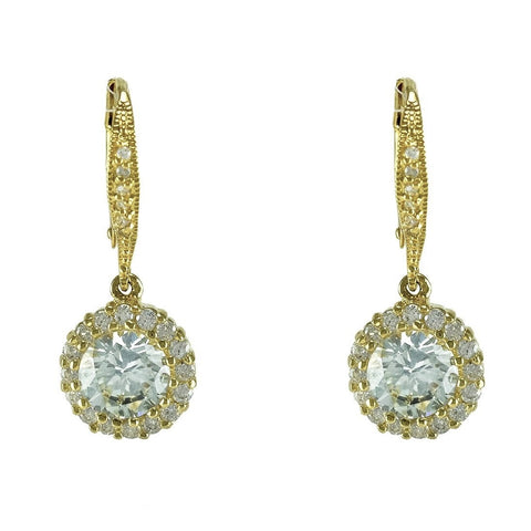 Chasity Round Drop Earrings | 2.8ct | 18k Gold
