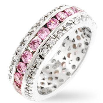 Kinia Pink and Clear Round Cut Eternity Ring