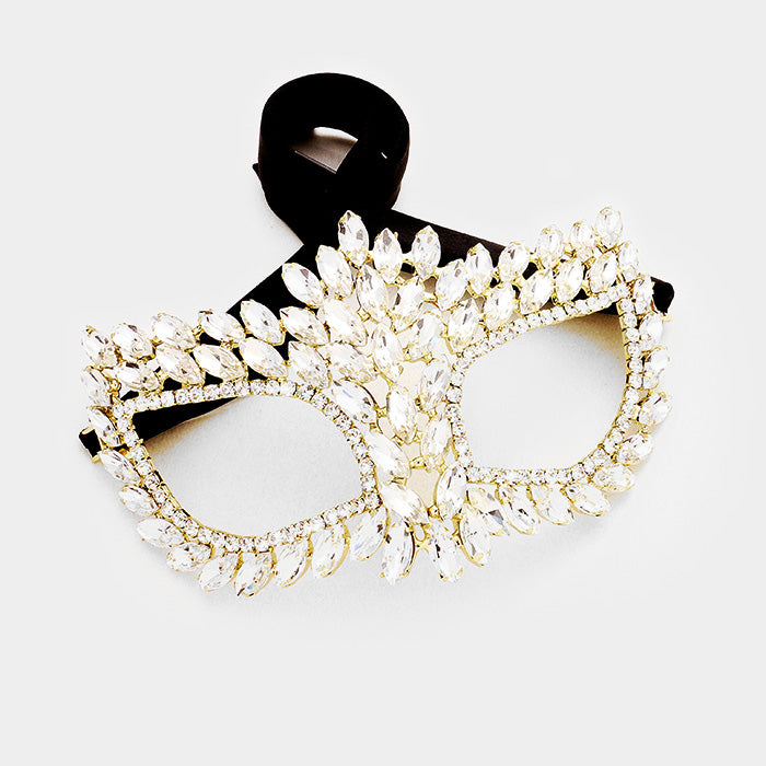 Drina Marquise Cluster Masquerade Mask | Crystal | Gold
