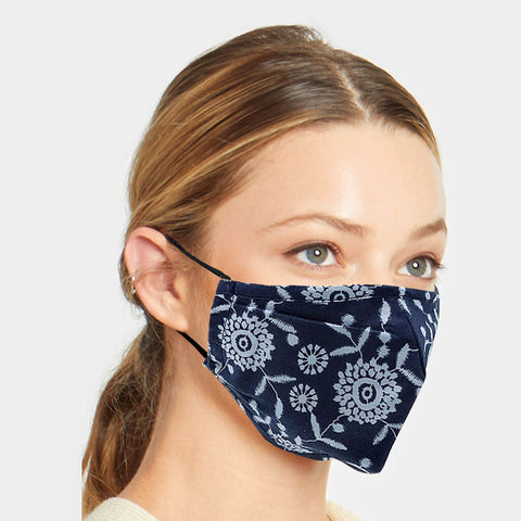 Helen Navy Floral Fashion Mask