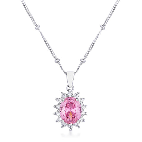 Chesna Oval Pink Halo Pendant