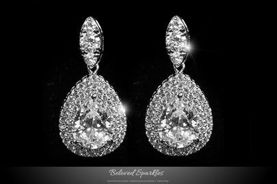 Fine Cubic Zirconia Faux Diamond Crystal Dangle Chandelier Earrings