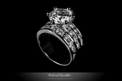 Fine Cubic Zirconia Engagment Wedding Eternity Cocktail Ring