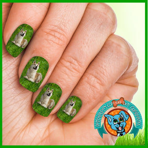 Akita on Grass Nail Wraps