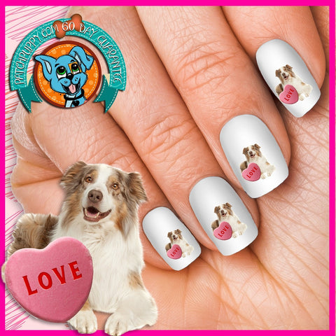Image of Australian Shepherd Love Nail Art Decals (Now! 50% more FREE)