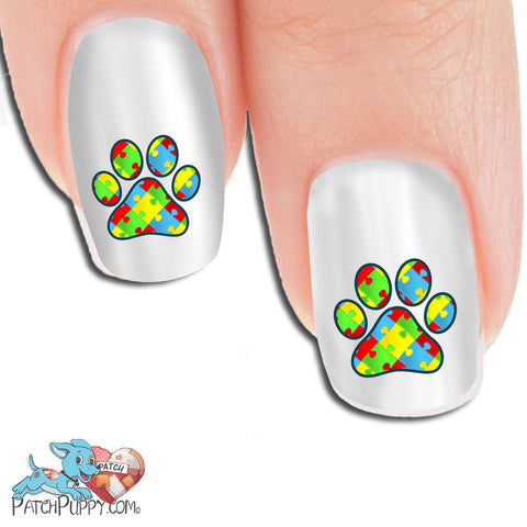 Autism Awareness Paw print Nail Art Decals (Now! 50% more FREE)