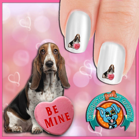 Bassett Hound Be Mine Nail Art Decals (Now! 50% more FREE)