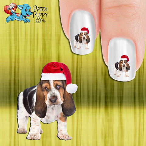 Bassett Puppy in Santa Hat Nail Art Decals (Now! 50% more FREE)
