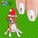 Beagle Puppy in Santa Hat (drawing) Nail Art Decals (Now! 50% more FREE)