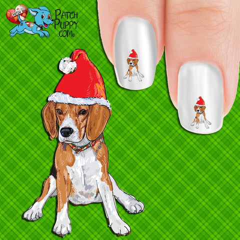 Image of Beagle Puppy in Santa Hat (drawing) Nail Art Decals (Now! 50% more FREE)