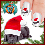 Black lab in a Santa Hat Nail Art (NOW 50% MORE FREE)