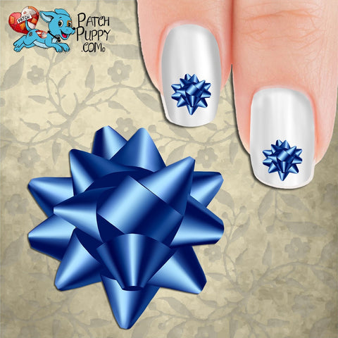 Blue Bow Nail Art Decals (Now! 50% more FREE)
