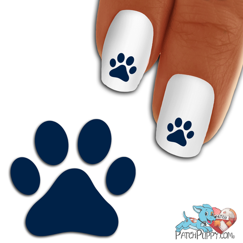 Prussian Blue Team Spirit Paw Print - Nail Art Decals (Now! 50% more FREE)