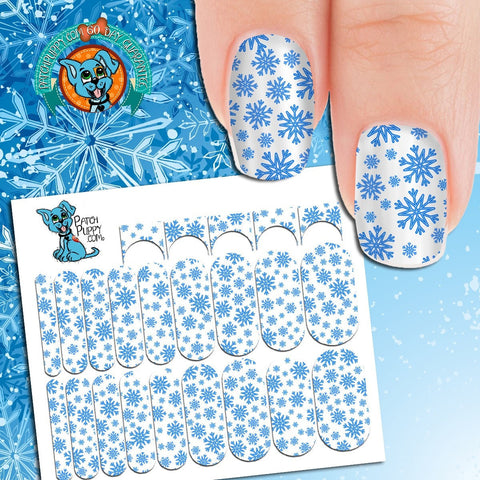 Blue Snowflake on White Background Nail Wraps