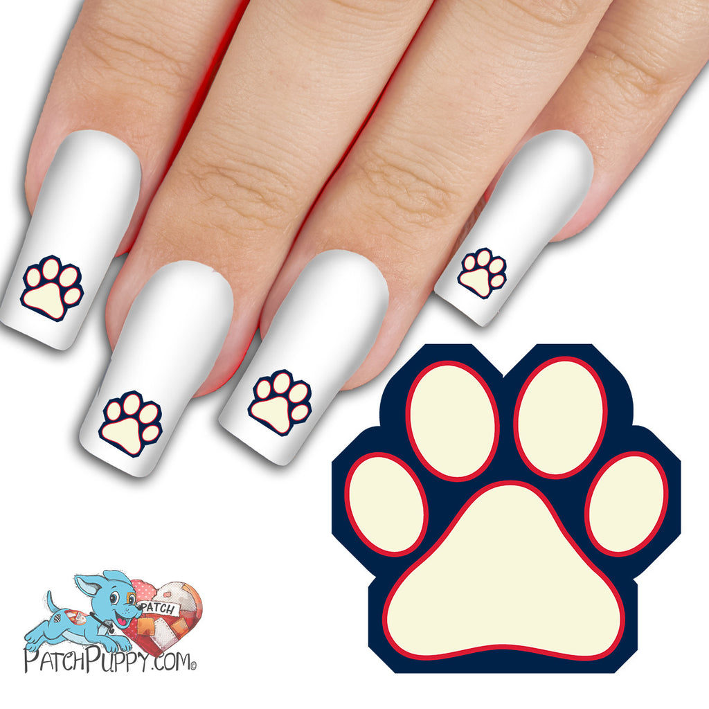 Prussian Blue, White and Red Team Spirit Paw Print - Nail Art Decals ...