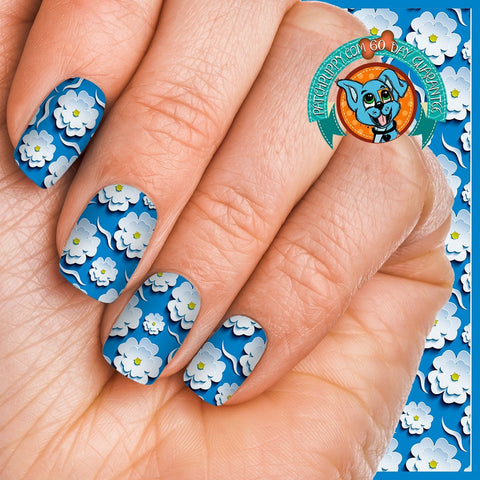 Blue with White raised Flowers Nail Wraps