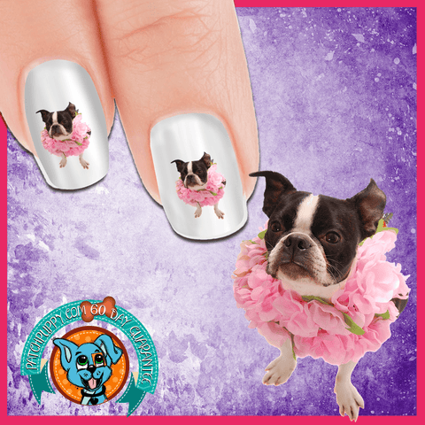 Boston Terrier Floral Beauty Nail Art Decals (NOW 50% MORE FREE)