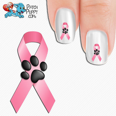 Breast Cancer Awareness Ribbon with Paw Print Nail Art Decals (Now! - Breast Cancer Awareness Ribbon With Paw Print Nail Art Decals (Now