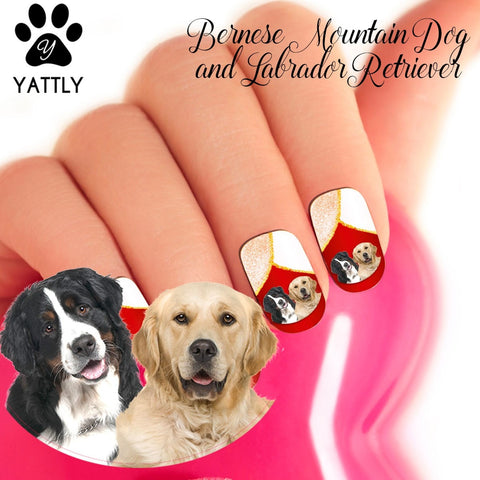 Bernese Mountain Dog & Golden Retriever Nail Art (NOW 50% MORE FREE)