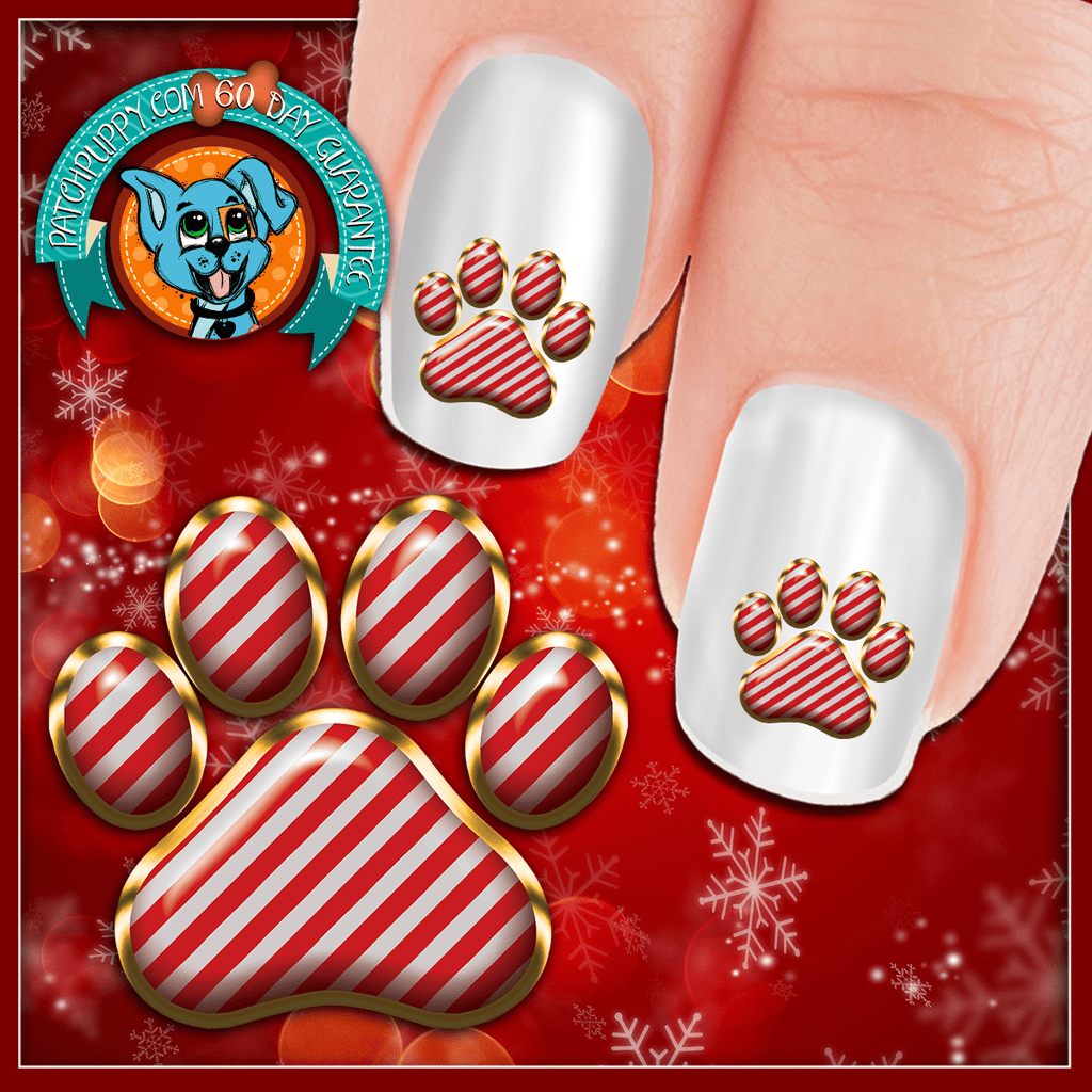 Candy Cane Paw Print Nail Art Now 50 More Free Patch Puppy