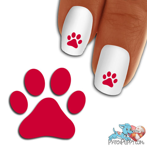 Carmine Red Team Spirit Paw Print - Nail Art Decals (Now! 50% more FREE)