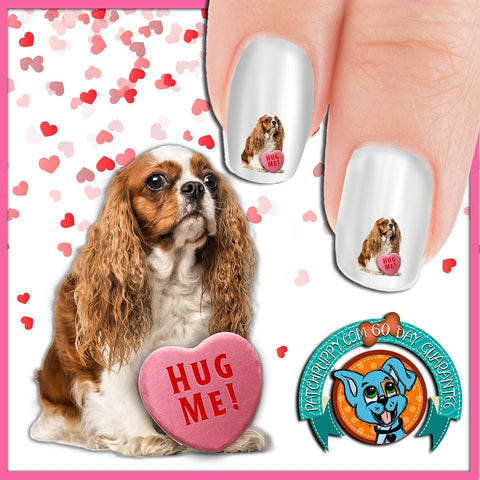 Cavalier King Charles Spaniel Hug Me Nail Art Decals (Now! 50% more FREE)