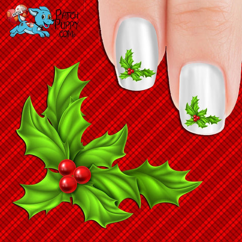 Christmas Holly Nail Art Decals (Now! 50% more FREE)