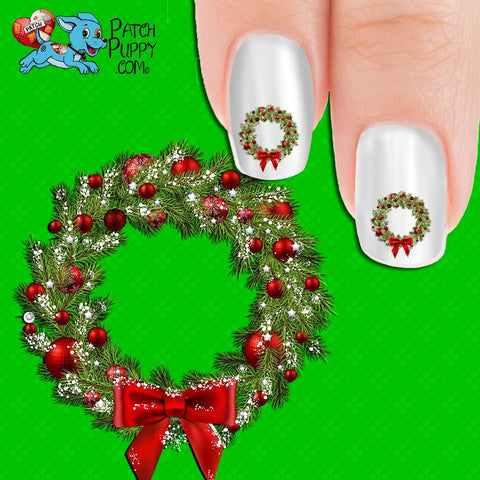 Christmas Wreath Nail Art Decals (Now! 50% more FREE)
