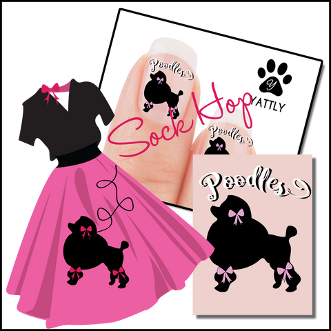 Poodle Sock Hop Paw Print Nail Art Decals (Now 50% More FREE)