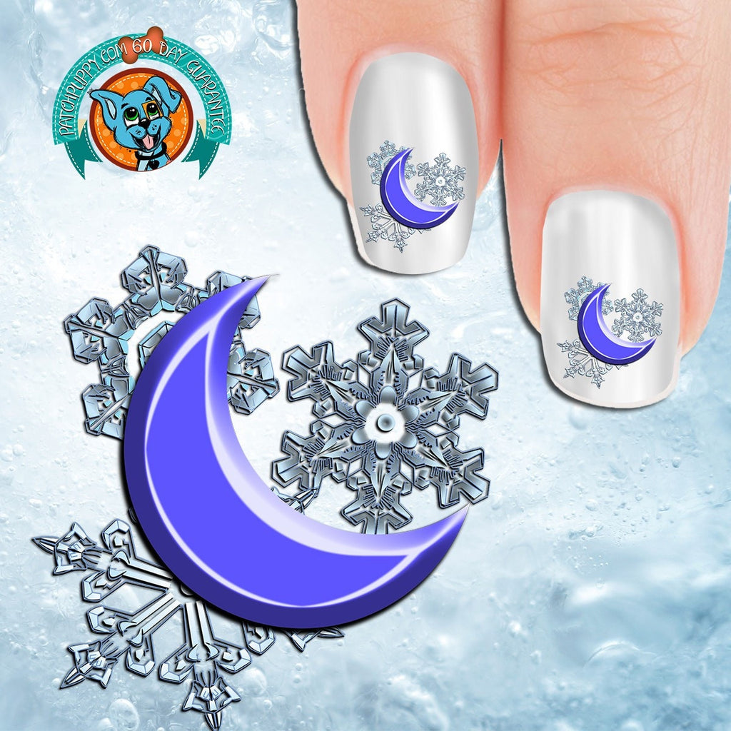 Crescent Moon On Snowflakes Nail Art Decals Now 50 More Free